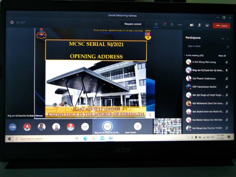 MAFSC COMMANDANT WELCOMING ADDRESS FOR MCSC 50/2021